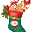 Christmas stocking with sweets — Stock Vector