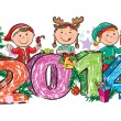 Stock Vector: New Year's children 2014