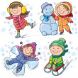 Winter kids — Stock Vector