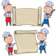 Stock Vector: Two funny kids cook with banner scroll