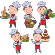Little chef with food and meals — Stock Vector #38177729