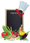 Chef menu board and vegetables — Stock Vector
