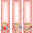 Valentine's Day Cupid with vertical banners — Stock Vector