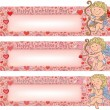 Valentines Day banners with cupid — Vecteur