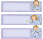 Horizontal banner with cute angels — Stock Vector
