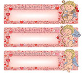Valentines Day banners with cupid — Vettoriale Stock