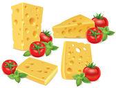Cheese, cherry tomatoes, basil — Stock Vector