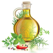 Olive oil with spices and herbs — Stock Vector