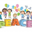 Children on the word peace — Stock Vector