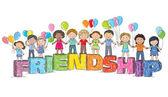 Children on the word friendship — ストックベクタ
