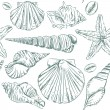 Seamless pattern of seashells — Stockvector