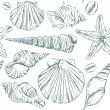 Seamless pattern of seashells — Vecteur