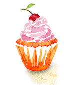 Tasty cupcake with cherry — Stock Photo