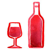 Glass of red wine and a bottle — Stock Photo
