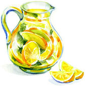Jug of lemonade with mint. watercolor painting — Stock Photo