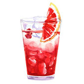 Watercolor cold punch cocktail glass — Stock Photo