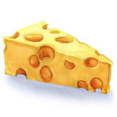 Watercolor piece of cheese isolated — Stock Photo