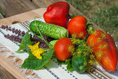 Tomato, cucumber, pepper on wooden table — Stockfoto