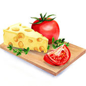 Cheese with tomatoes on wooden board — Stock Photo