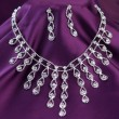 Silver necklace with gemstones — Stockfoto