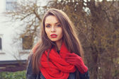 Red scarf and gloves — Stock Photo