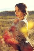 Beautiful autumn female — Stock Photo