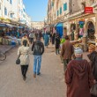 Stock Photo: Street of medinwith people walking, sellers and lot of small s