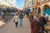 Street of medina with people walking, sellers and lot of small s — Stock Photo