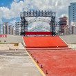 Empty stage with slogan for International Labour Day — Stockfoto