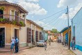 Strada con edifici colorati a trinidad, cuba — Foto Stock