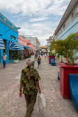 Boulevard street with locals and tourists walking — Stock Photo