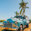 Old american car standing under palm tree — Stock Photo