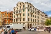Famous cafes at building at Platia Enoseos — Stock Photo
