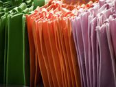 Fabric-bags-greenorange — Stock Photo