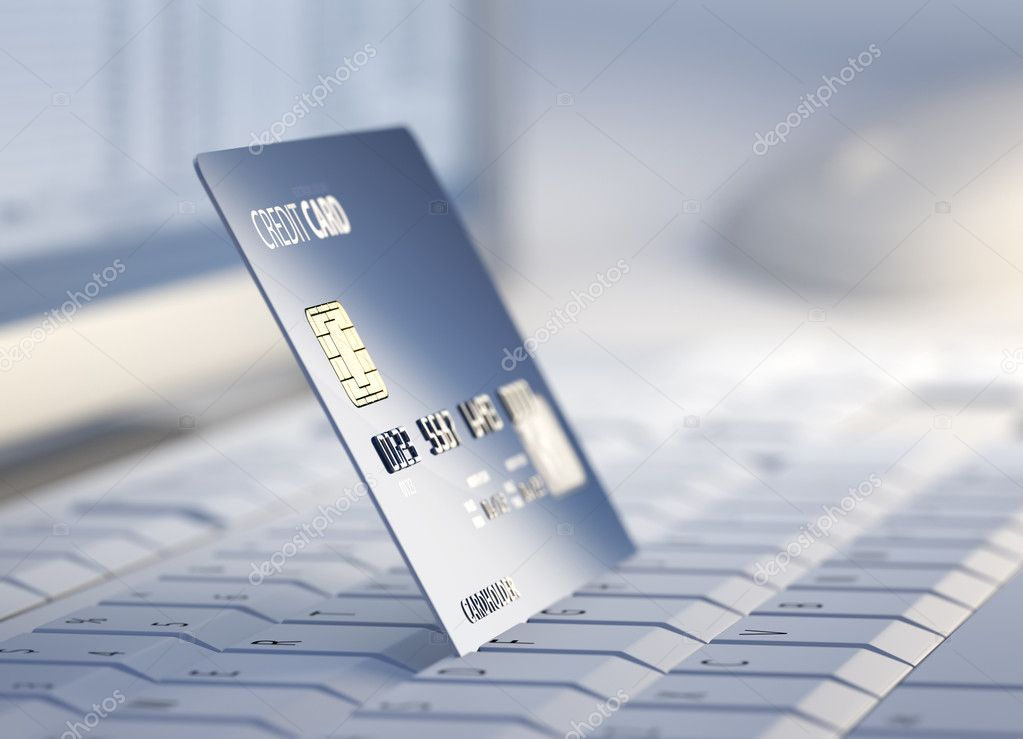Credit Card on keyboard with desktop computer system in background - 3d  — Stock Photo #13860737