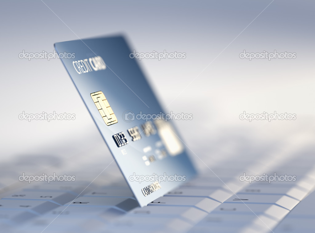 Credit Card on Computer Keyboard - 3d rendered with high differential focus — Stock Photo #13860738
