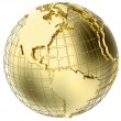 Stock Photo: Earth in Gold Metal isolated on white