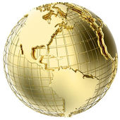 Earth in Gold Metal isolated on white — Stock Photo