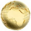 Earth in Gold Metal isolated with Africa and Europe) — Stock Photo