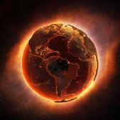 全球灾难后燃烧的地球 — 图库照片