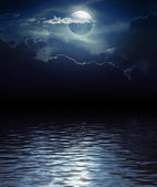 Fantasy Moon and Clouds over water — Stock fotografie