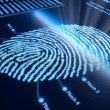 fingerprint on pixellated screen — Stock Photo