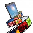 Streaming video with modern mobile phone — 图库照片
