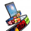 Streaming video with modern mobile phone — ストック写真