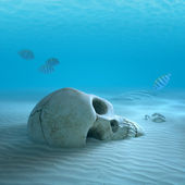 Skull on sandy ocean bottom with small fish cleaning some bones — Foto Stock