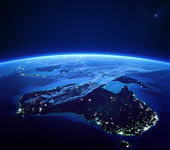 Australia with city lights from space at night — Stock Photo