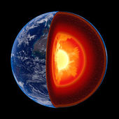Earth core structure to scale - isolated — Foto de Stock