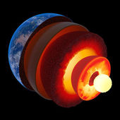 Earth core structure to scale - isolated — Stock Photo