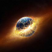 Planet earth explode in space — Stock Photo