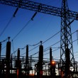 Electrical substation silhouette - Stock Photo